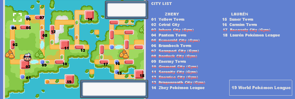 Pokemon Light Platinum World Map
