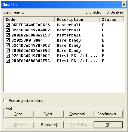 Pokemon Light Platinum Cheats & Gameshark Codes