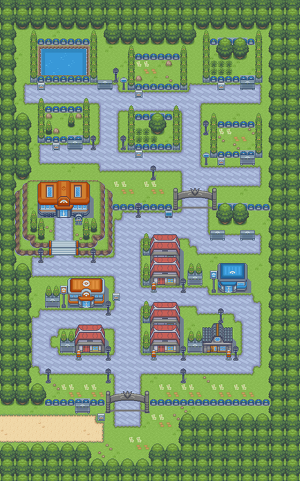 Pokemon Light Platinum Lauren City Map